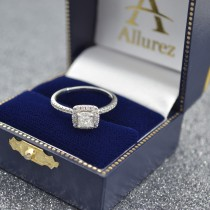Cushion Diamond Halo Engagement Ring French Pave 14k W. Gold 0.70ct