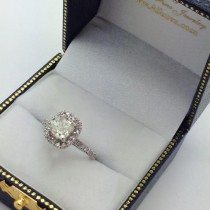Cushion Lab Grown Diamond Halo Engagement Ring French Pave 14k W. Gold 1.58ct
