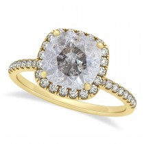 Cushion Salt & Pepper Diamond Halo Engagement Ring French Pave 14k Y. Gold 1.58ct