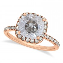 Cushion Salt & Pepper Diamond Halo Engagement Ring French Pave 18k R. Gold 1.58ct