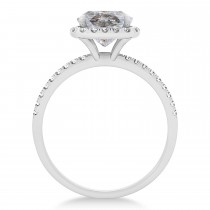 Cushion Salt & Pepper Diamond Halo Engagement Ring French Pave 18k W. Gold 1.58ct