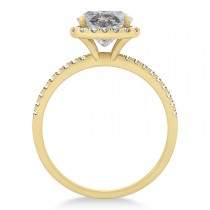 Cushion Salt & Pepper Diamond Halo Engagement Ring French Pave 18k Y. Gold 1.58ct