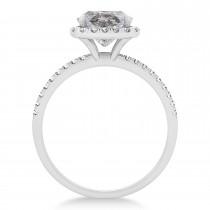 Cushion Salt & Pepper Diamond Halo Engagement Ring French Pave Platinum 1.58ct