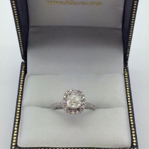 Cushion Diamond Halo Engagement Ring French Pave 14k W. Gold 1.58ct