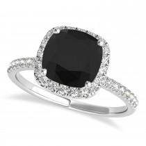 Cushion Black Diamond & Diamond Halo Engagement Ring French Pave 14k W. Gold 1.58ct