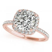 Cushion Moissanite & Diamond Halo Engagement Ring French Pave 18k R. Gold 2.00ct