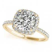 Cushion Moissanite & Diamond Halo Engagement Ring French Pave 18k Y. Gold 0.70ct