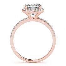 Cushion Moissanite & Diamond Halo Engagement Ring French Pave 14k R. Gold 1.58ct
