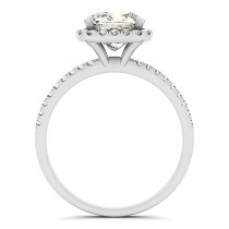 Cushion Moissanite & Diamond Halo Engagement Ring French Pave 18k W. Gold 1.58ct