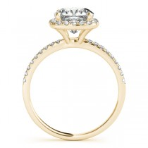 Cushion Moissanite & Diamond Halo Engagement Ring French Pave 18k Y. Gold 1.58ct