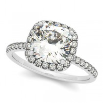 Cushion Moissanite & Diamond Halo Engagement Ring French Pave Palladium 1.58ct