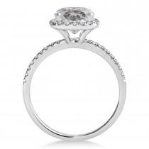 Cushion Salt & Pepper Diamond Halo Bridal Set French Pave 14k White Gold 2.14ct