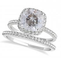 Cushion Salt & Pepper Diamond Halo Bridal Set French Pave Palladium 2.14ct