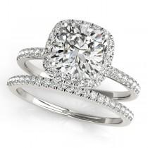 Cushion Diamond Halo Bridal Set French Pave 18k White Gold 0.84ct