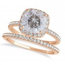 Cushion Salt & Pepper Diamond Halo Bridal Set French Pave 14k Rose Gold 0.84ct