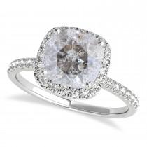Cushion Salt & Pepper Diamond Halo Bridal Set French Pave 14k White Gold 0.84ct