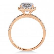 Cushion Salt & Pepper Diamond Halo Bridal Set French Pave 18k Rose Gold 0.84ct