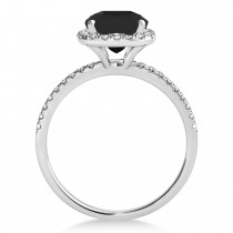 Cushion Black Diamond & Diamond Halo Bridal Set French Pave 14k White Gold 1.72ct