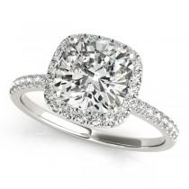 Cushion Moissanite & Diamond Halo Bridal Set French Pave 18k White Gold 2.14ct
