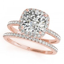 Cushion Moissanite & Diamond Halo Bridal Set French Pave 14k Rose Gold 0.84ct