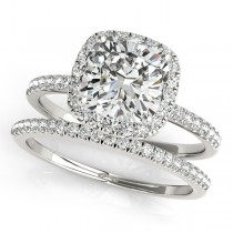 Cushion Moissanite & Diamond Halo Bridal Set French Pave Palladium 0.84ct