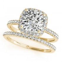Cushion Moissanite & Diamond Halo Bridal Set French Pave 18k Yellow Gold 1.72ct