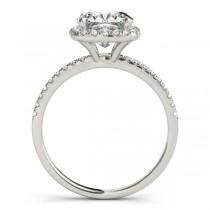 Cushion Moissanite & Diamond Halo Bridal Set French Pave Palladium 1.72ct
