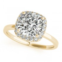 Cushion Solitaire Diamond Halo Engagement Ring 14k Yellow Gold (1.00ct)