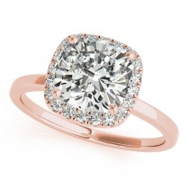 Cushion Solitaire Diamond Halo Engagement Ring 18k Rose Gold (1.00ct)