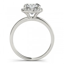 Cushion Solitaire Diamond Halo Engagement Ring 18k White Gold (1.00ct)