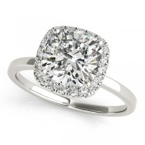 Cushion Solitaire Diamond Halo Engagement Ring Palladium (1.00ct)