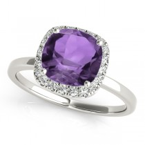 Cushion Amethyst & Diamond Halo Engagement Ring 14k White Gold (1.00ct)