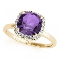 Cushion Amethyst & Diamond Halo Engagement Ring 14k Yellow Gold (1.00ct)