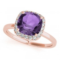 Cushion Amethyst & Diamond Halo Engagement Ring 18k Rose Gold (1.00ct)
