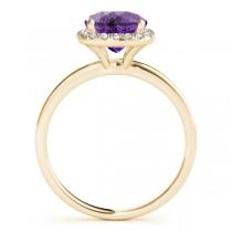 Cushion Amethyst & Diamond Halo Engagement Ring 18k Yellow Gold (1.00ct)