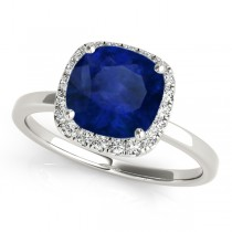 Cushion Blue Sapphire & Diamond Halo Engagement Ring 14k White Gold (1.00ct)