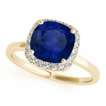 Cushion Blue Sapphire & Diamond Halo Engagement Ring 14k Yellow Gold (1.00ct)