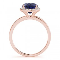 Cushion Blue Sapphire & Diamond Halo Engagement Ring 18k Rose Gold (1.00ct)