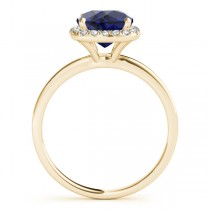 Cushion Blue Sapphire & Diamond Halo Engagement Ring 18k Yellow Gold (1.00ct)