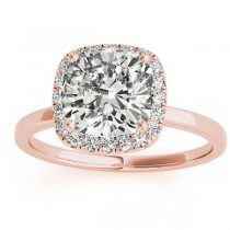 Cushion Diamond Halo Engagement Ring 18k Rose Gold (0.15ct)