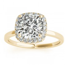 Cushion Diamond Halo Engagement Ring 18k Yellow Gold (0.15ct)