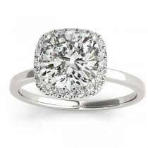 Cushion Diamond Halo Engagement Ring Platinum (0.15ct)