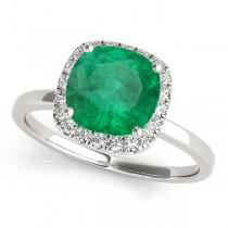 Cushion Emerald & Diamond Halo Engagement Ring 14k White Gold (1.00ct)