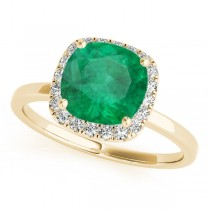 Cushion Emerald & Diamond Halo Engagement Ring 14k Yellow Gold (1.00ct)