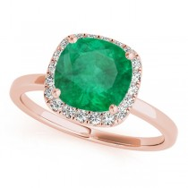 Cushion Emerald & Diamond Halo Engagement Ring 18k Rose Gold (1.00ct)
