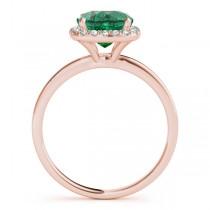 Cushion Emerald & Diamond Halo Engagement Ring 18k Rose Gold (1.00ct)