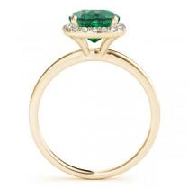 Cushion Emerald & Diamond Halo Engagement Ring 18k Yellow Gold (1.00ct)