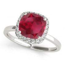 Cushion Ruby & Diamond Halo Engagement Ring 14k White Gold (1.00ct)