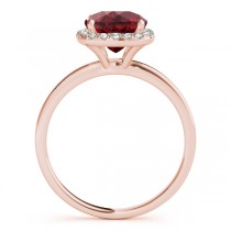 Cushion Ruby & Diamond Halo Engagement Ring 18k Rose Gold (1.00ct)