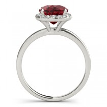 Cushion Ruby & Diamond Halo Engagement Ring 18k White Gold (1.00ct)